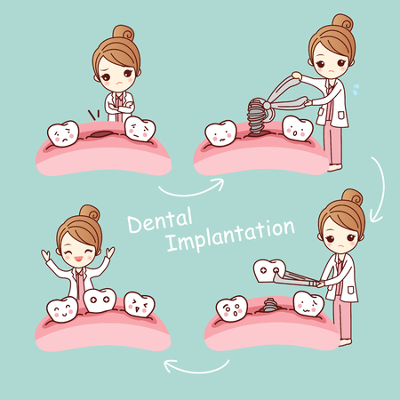 cute cartoon tooth implant treatment with dentist, great for health dental care concept Vektorové ilustrace