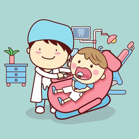 만화 치과 의사 또는 누가 치과 치료 개념에 대 한 좋은의 자에 앉아 아이의 치아를 검사하는 의사 일러스트