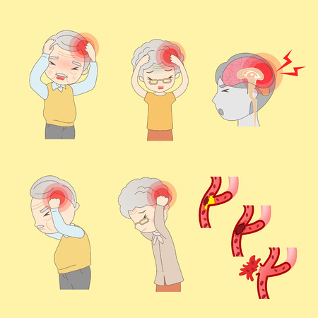 cartoon old people have head ache, great for your design