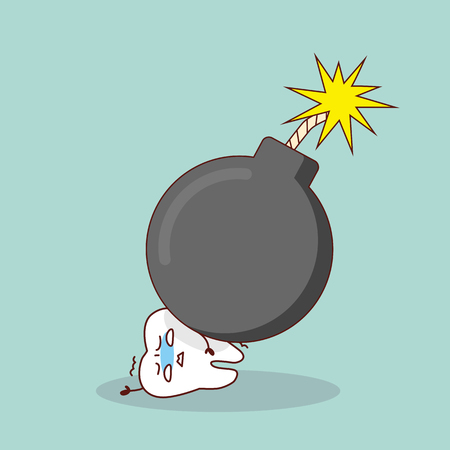 cartoon tooth with bomb, great for health dental care concept Illustration