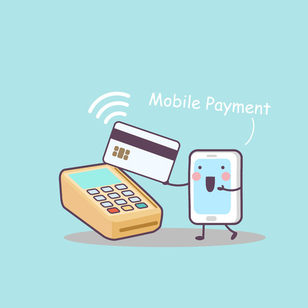 cute cartoon mobile payment,great for technology concept design