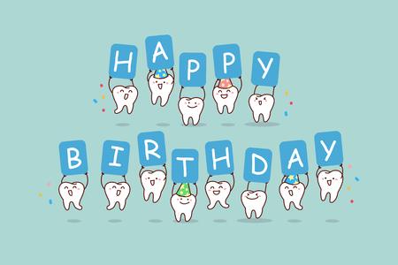 dente sveglio del fumetto salta con il tabellone per le affissioni, buon compleanno, grande per il concetto di cura dentale di salute Vettoriali