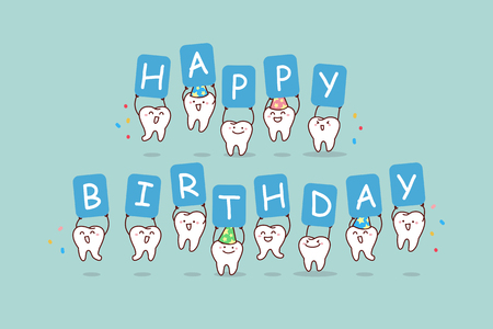 cute cartoon tooth jump with billboard,happy birthday, great for health dental care concept