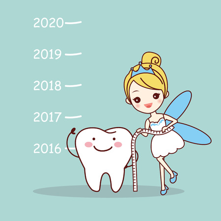 cute cartoon tooth note with tooth fairy