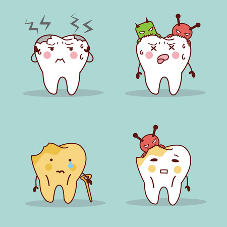 cute cartoon teeth have toothache and feel pain