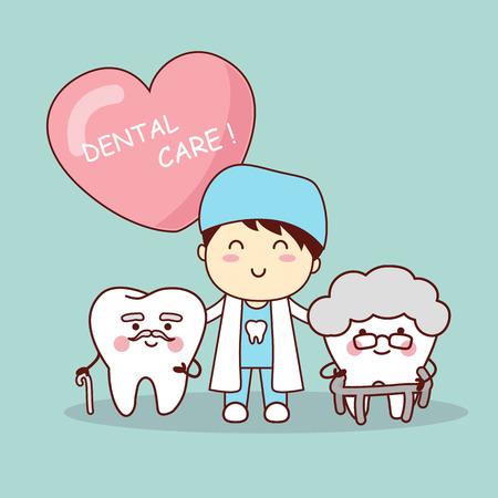 幸せな漫画古い歯、歯科、医療歯科医療の概念のために大きい  イラスト・ベクター素材