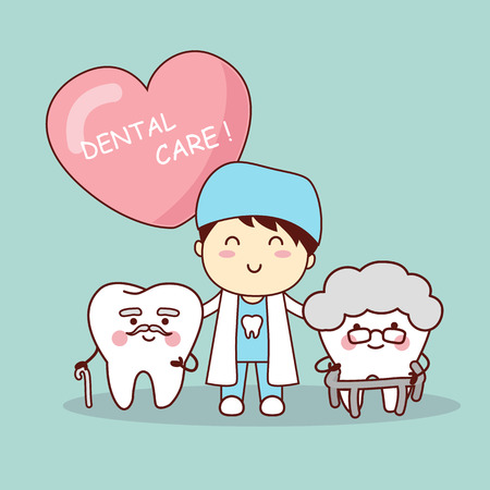 Happy cartoon old tooth with dentist, great for health dental care concept