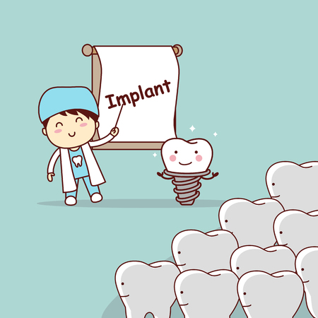 medical student: cartoon doctor or dentist teach teeth implant, great for dental care concept