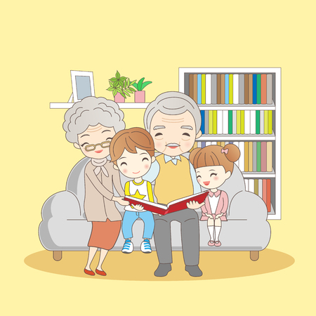 girl illustration: happy family reading book,great for your concept Illustration