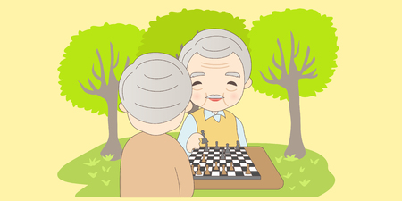 cartoon old man plays chess with his friend happily
