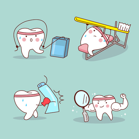himself: cartoon tooth with dental floss,tooth brush,toothpaste and mirror training himself,great for health dental care concept Illustration