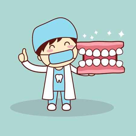 Happy cartoon prothese en tandarts toont de duim omhoog, goed voor de gezondheid tandheelkundige zorg concept