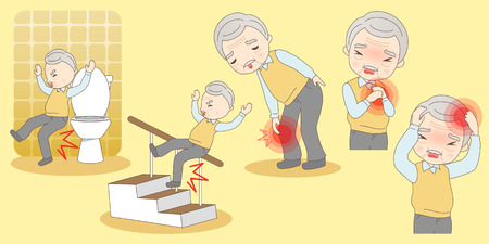 cartoon old man hurt ,great for your design