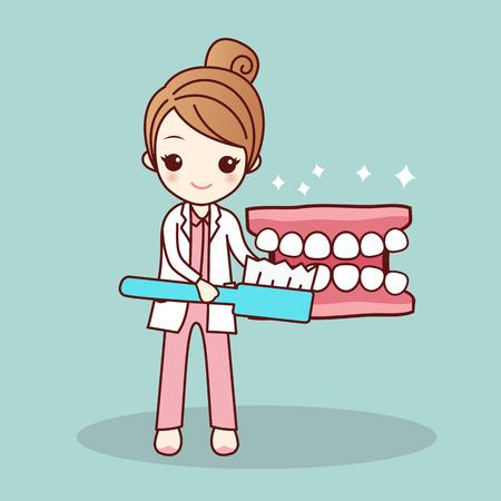 prothèse de bande dessinée Heureux et dentiste enseignent vous vous brossez les dents, grand pour concept de soins dentaires de santé