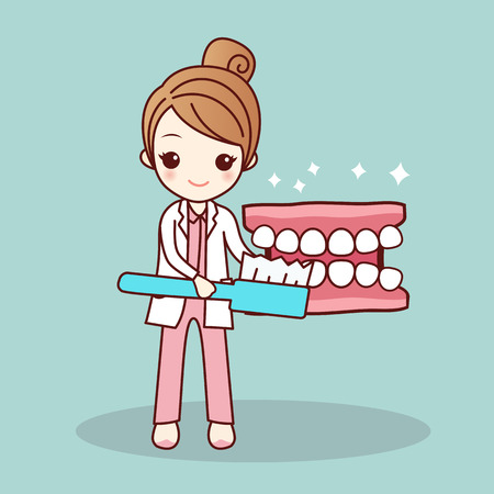 Szczęśliwa kreskówka proteza i dentysta uczą szczotkowania zębów, idealne dla koncepcji opieki stomatologicznej