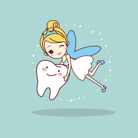 Ząb kreskówka z wróżką zęba, doskonałe do koncepcji opieki stomatologicznej