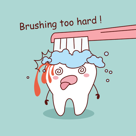 hard: cartoon tooth is brushing too hard, great for dental care