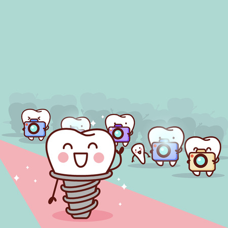 cartoon implant tooth with paparazzi, great for health dental care concept