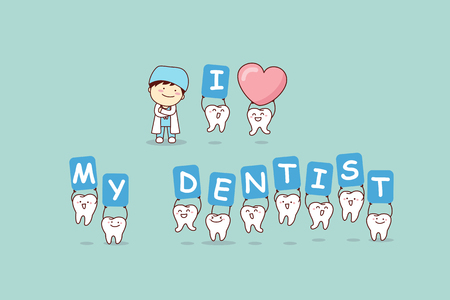 I love my dentist - cartoon tooth with doctor, great for dental care concept Ilustração