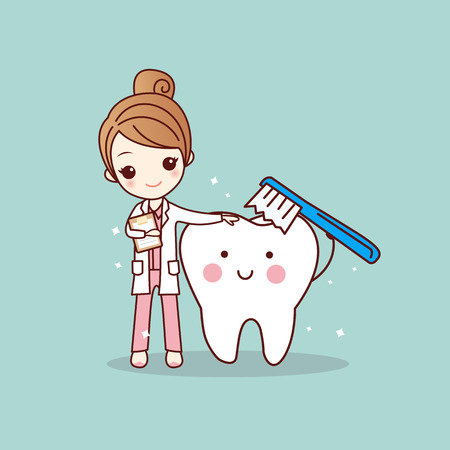 cartoon woman dentist brush clean teeth, great for dental care concept Çizim