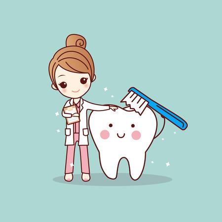 cartoon woman dentist brush clean teeth, great for dental care concept Illustration