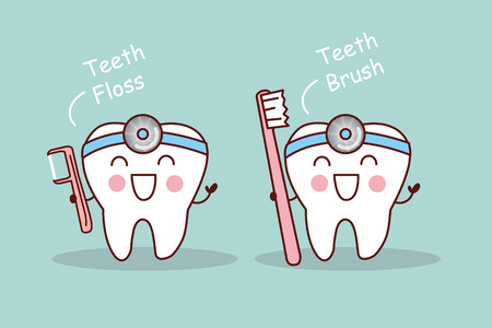 Happy cartoon tooth and dentist take toothbrush and floss Illustration
