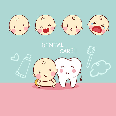 cute cartoon tooth with baby, great for dental care concept design