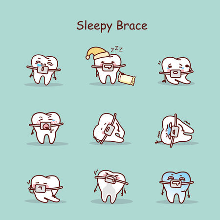 sleepy cartoon tooth wear brace with various expressions Illustration