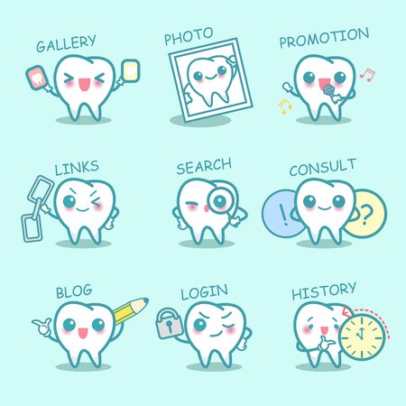 social history: cute cartoon tooth set with web design text and word