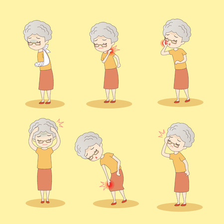 shoulder problem: cartoon old woman has different problem , great for your design