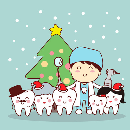 christmas and snow with cute cartoon tooth and dentist 일러스트