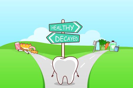 Lindo diente de dibujos animados pensar confundido entre los alimentos saludables y alimentos unhealth en el camino separado, ideal para la salud concepto de atención dental