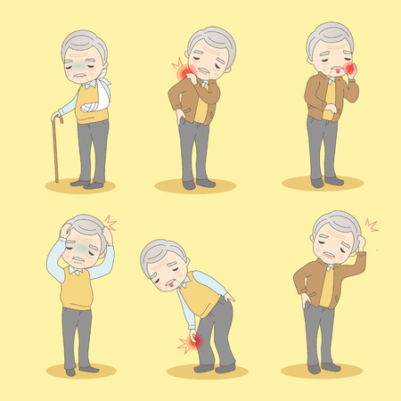 cartoon old man has different problem , great for your design Stock Illustratie
