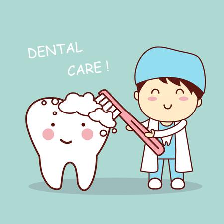 Netter Karikaturzahnarztdoktor-Bürstenzahn, groß für Zahnpflegekonzept der Gesundheit