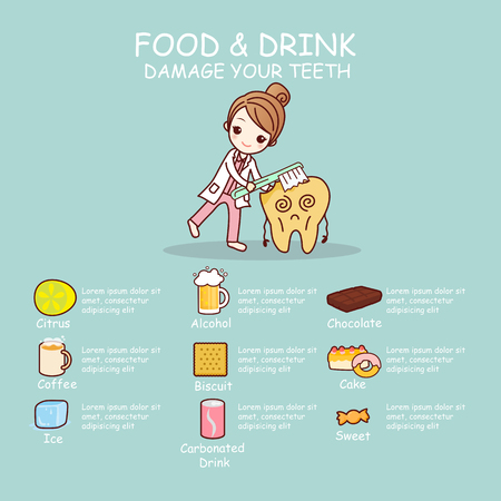 food and drinks: food and drink damage teeth dental problem, great for dental care concept