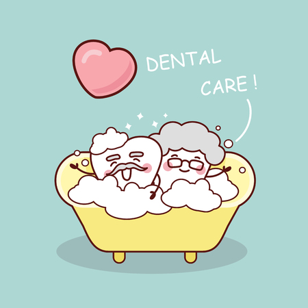 medical shower: cute cartoon senior tooth take a bath with love, great for health dental care concept