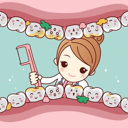 cute cartoon dentist doctor clean tooth by floss, great for health dental care concept 向量圖像