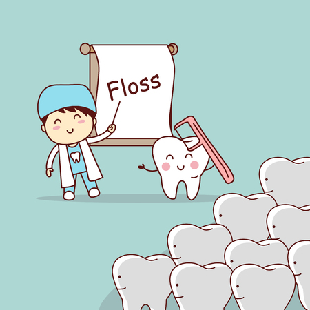 cartoon doctor or dentist teach teeth to use floss, great for dental care concept
