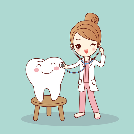 cute cartoon dentist doctor with tooth, great for health dental care concept