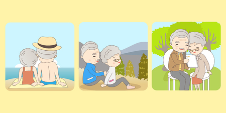 moutain: old couple enjoy their life, great for your concept Illustration