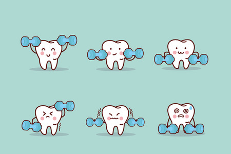 health cartoon tooth with dumbbell, great for health dental care concept
