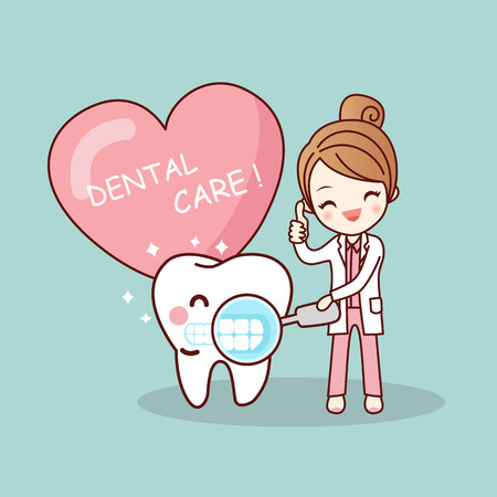 Happy cartoon tooth and dentist with love heart, great for health dental care concept Illustration