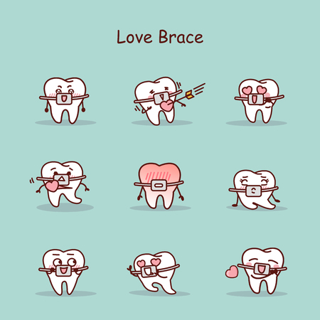 tell: Love cartoon tooth wear brace with various expressions Illustration