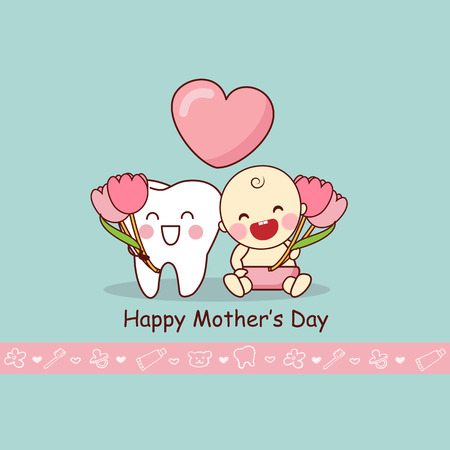 baby sick: Happy Mother Day with cartoon teeth and baby, great for dental care concept