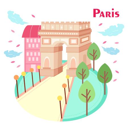 triumphal: cartoon Arc de Triomphe in the paris great to travel Illustration