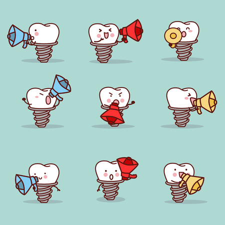 cute cartoon implant tooth with speaker set, great for health dental care concept 向量圖像