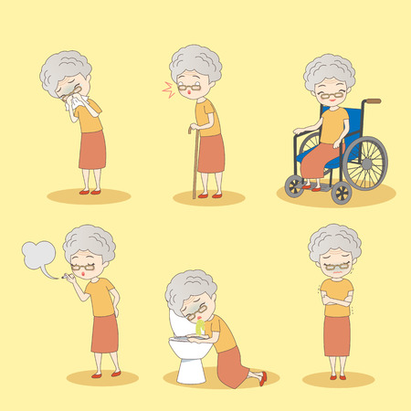 cartoon old woman has different problem , great for your design