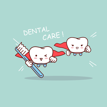 cartoon super tooth with toothbrush, great for dental care concept Vektorové ilustrace