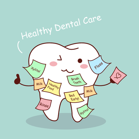 cute cartoon tooth with memo, great for health dental care concept Illustration