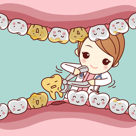 Karikatur Zahnarzt Extraktion Zahn mit zahnärztlichen Ausrüstung, ideal für Gesundheit Zahnpflege-Konzept
